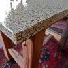 Small redcedar table with recycled glass top