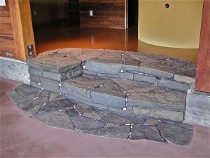 Sandstone Indoor Stairs And Hearth Thuja Wood Art