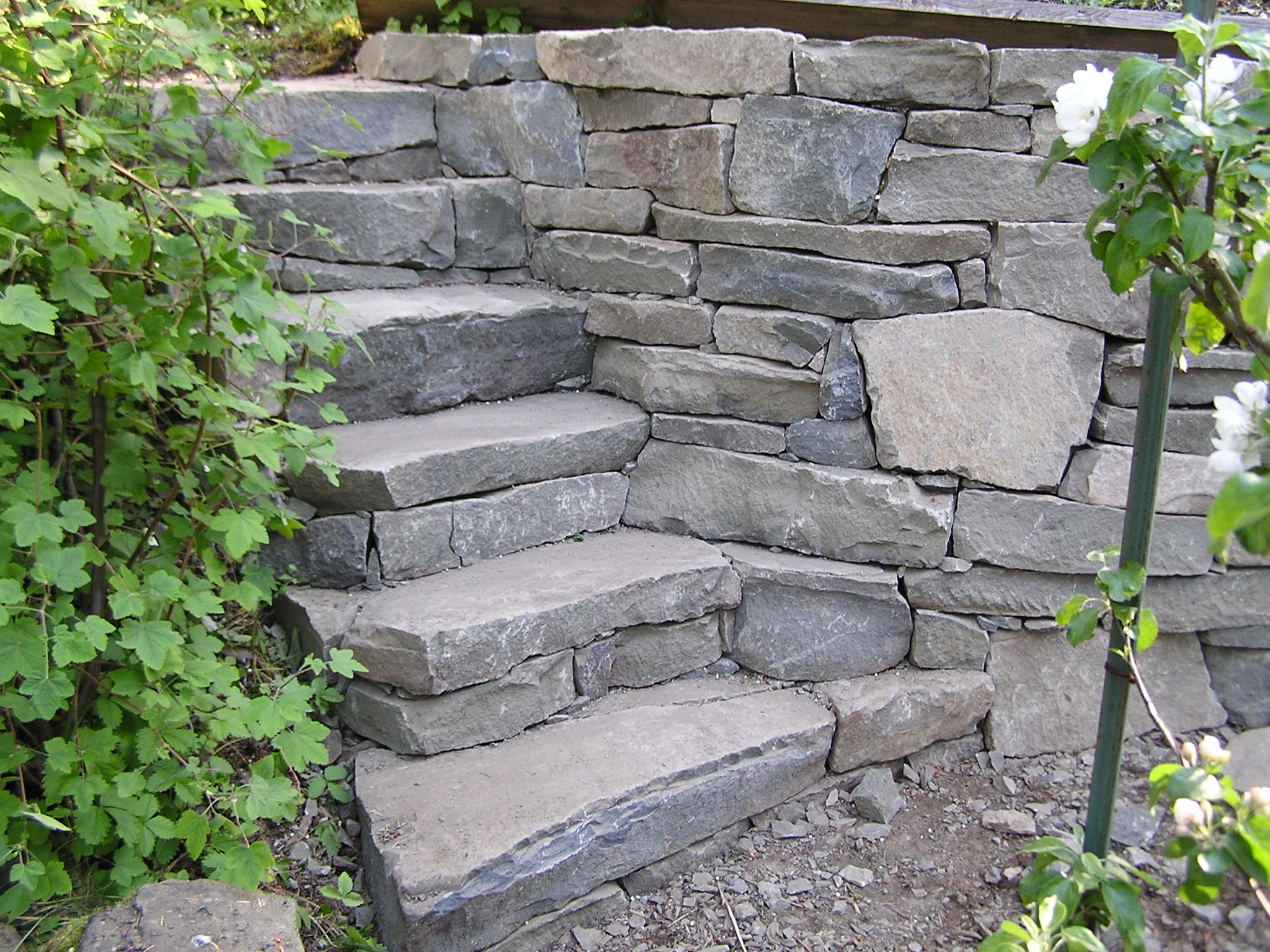 Pare drystack stone stairs and garden wall cedar for Rock wall garden
