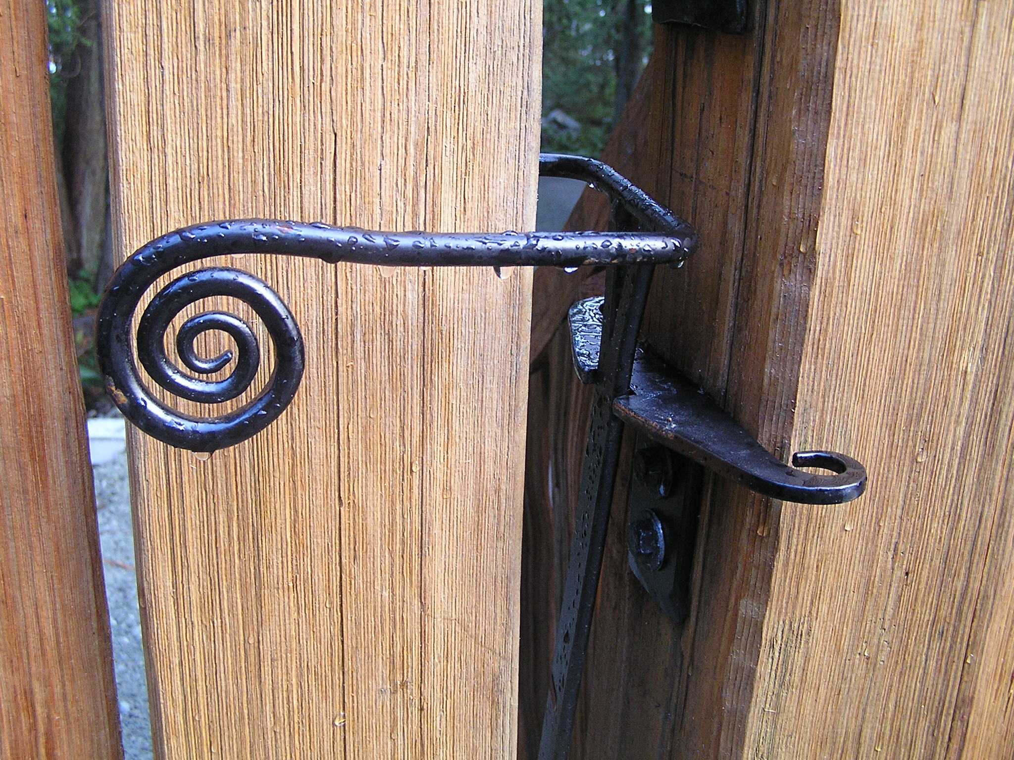 Spiral Gate Latch Thuja Wood Art Reclaimed Cedar