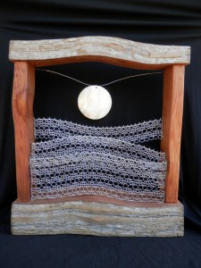 Waves- Cedar and metal lace sculpture