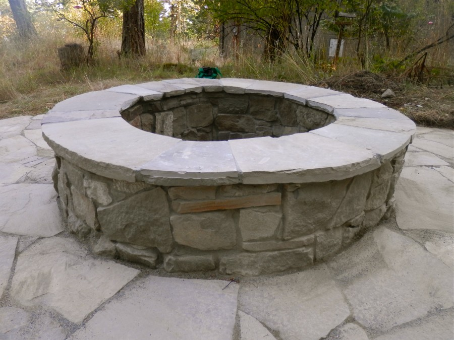 Stone Patio and Fire Pit - Thuja Wood Art - Reclaimed ...