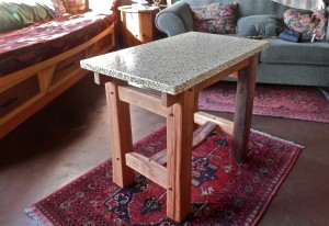 cedar table with Environite top